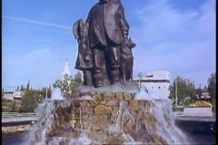 Fairbanks, Alaska, fountain, memorial to Eskimos, bronze, wide shot - stock footage