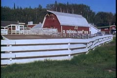 Farmstead, wide, experimental farm, University of Alaska, Fairbanks, Alaska Stock Footage
