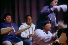 Native Alaskan dances, medium shot side, Fairbanks, Alaska - stock footage