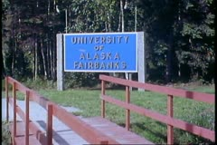 University of Alaska at Fairbanks sign, close up, Fairbanks, Alaska - stock footage