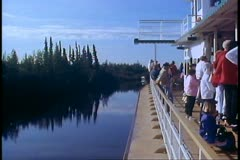 Riverboat on Yukon River, Alaska, paddlewheel, POV from deck forward Stock Footage