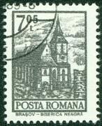 stamp  shows Black Church, Brasov, circa 1972. - stock photo
