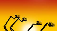 Stock Photo of industrial landscape at sunset