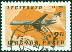 "Stamp shows Airlines and Maps with the inscription ""IL-62"", circa 1977 Stock Photos"