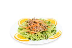Chinese food. shredded cucumbers with meat, clipping path. Stock Photos