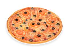 Pizza with tomato and olives Stock Photos