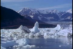 Columbia Glacier, Alaska, icebergs, ice filled waters Stock Footage
