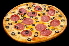 Pizza with peperoni and olives, isolated Stock Photos