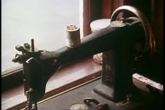 Ketchikan Alaska, Dolly's House of prostitution, close up sewing machine Stock Footage