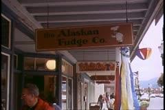 Alaskan Fudge Company sign in Juneau, Alaska Stock Footage