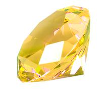 singe yellow crystal diamond - stock photo