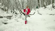 Stock Video Footage of Teenage Girl in Winter Forest