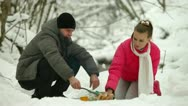 Stock Video Footage of Winter Picnic in Snow