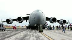 Front view of large military transport carrier jet Stock Footage