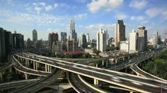 Freeway interchange, time lapse. - stock footage