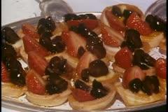 Lavish Desert Buffet, strawberry tarts, Alaska Cruise, Island Princess Stock Footage