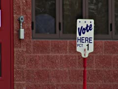 Old Fashioned Vote Here Sign - Close Up Stock Footage