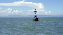 HD - Sailing pass an ocean navigation buoy Stock Footage