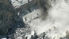 Slow-motion rock fall in open pit mine Stock Footage