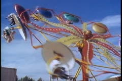Alaska State Fair, wide shot of whirlybird ride, Palmer, Alaska Stock Footage