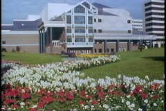 Anchorage, Alaska, The Performing Arts Center, flowers in foreground Stock Footage