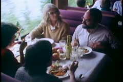 The Alaska Railroad, dining car, medium shot four eating Stock Footage