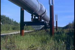 Trans-Alaskan Pipeline, medium close up, tilt up, North Slope of Alaska Stock Footage