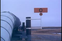 Pipeline, mile Zero, pipeline in ground, Deadhorse, Prudhoe Bay, Alaska - stock footage