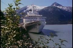 Cruise ship at dock in Skagway, Alaska, Inside Passage Stock Footage