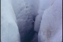 Glacial melt, deep blue, close up into a tunnel, Alaska, Juneau Icefields Stock Footage