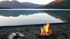 Campfire by the lake Stock Footage