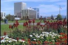 Anchorage, Alaska, 1988, establishing shot downtown, buildings, flowers Stock Footage