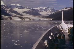 College Fjord, Alaska, POV bow, mountains in background, sea, ice in water - stock footage