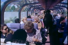 The Alaska Railroad, interior of dome coach car, wide, lots of people Stock Footage