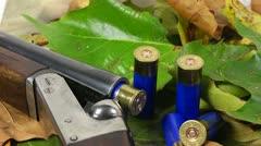 Shotgun, shells and autumn leafs Stock Footage