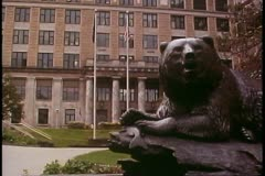 Capital Building, State of Alaska, bronze bear in front, Juneau, Alaska Stock Footage