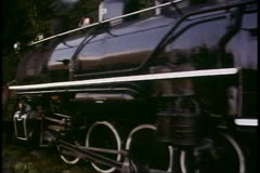 White Pass & Yukon Railroad, Alaska, tracking shot alongside locomotive Stock Footage
