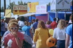 Alaska State Fair, midway, lots of people, 1988, Palmer Alaska Stock Footage