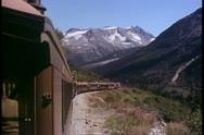 White Pass & Yukon Railroad, Alaska, POV, train and vast mountain scenery Stock Footage
