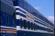 Alaska Railroad, train arrives Denali National Park, Alaska, coaches passing Stock Footage