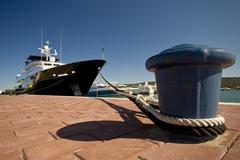 The yacht and the berth Stock Photos