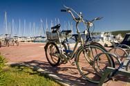 Bicycles in the marina Stock Photos