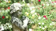 Stock Video Footage of Sculpture In Garden Still