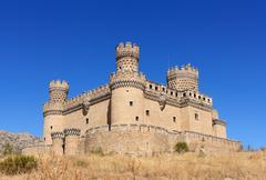 old castle manzanares el real near madrid, spain - stock photo