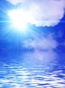 background with white clouds, sun, sky and water - stock photo