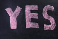 """yes"" on chalkboard Stock Photos"