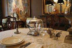 Elegant dinner table Stock Photos