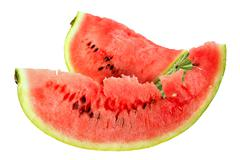 two red slice of ripe watermelon - stock photo