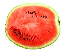 only red slice of a ripe watermelon - stock photo