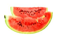 two red slice of ripe water melon - stock photo